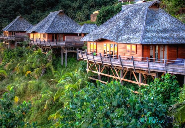 View of the bungalows from the Villa Fetia Dream on the island of Moorea, in a tropical setting, in French Polynesia