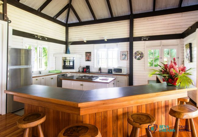 Modern kitchen in the Villa Teareva Dream vacation rental on Moorea island in French Polynesia