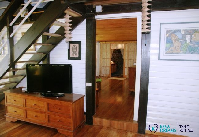 Lounge of Villa Teareva Dream at the heart of a tropical garden, Moorea island, a relaxing seaside holiday