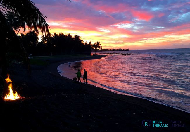 Picturesque sunset, dream beach vacation on Tahiti island, French Polynesia