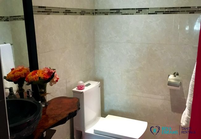 Sleek bathroom in the Fare Ere Ere, come discover Tahiti and her lagoon during an exotic vacation