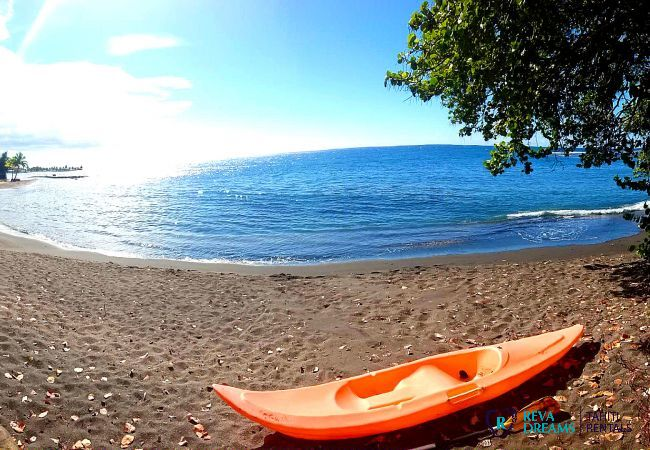 Beach and kayak at the Fare Ere Ere, watersports and activities during a stay on Tahiti island, French Polynesia