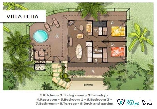 Plan de la Villa Fetia Dream pour un séjour entre mer et montagne sur l'île de Moorea, Polynésie Française