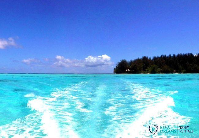 Lagon bleu du Fare Pacifique, séjours et vacances au bord de l'eau sur un îlot près de Moorea et Tahiti