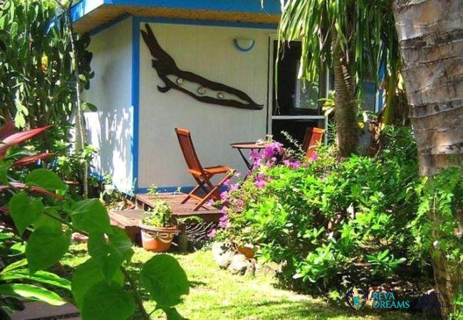 Jardin et terrasse du Fare Aroha Ho'e, séjours sous le soleil et les palmiers, près des plages de sable blanc de Bora Bora