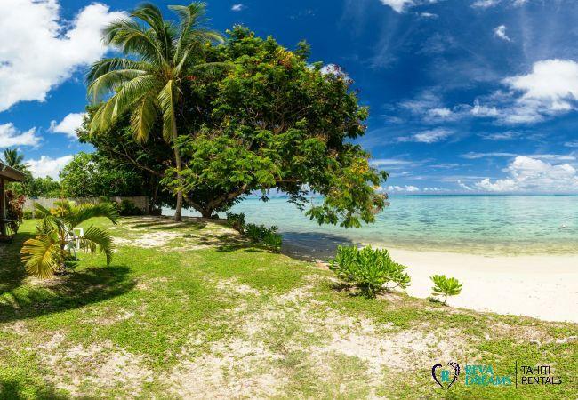 Jardin et plage au Fare Tiki Dream envoûtant, location de vacances sur l'île de Moorea, près de Tahiti