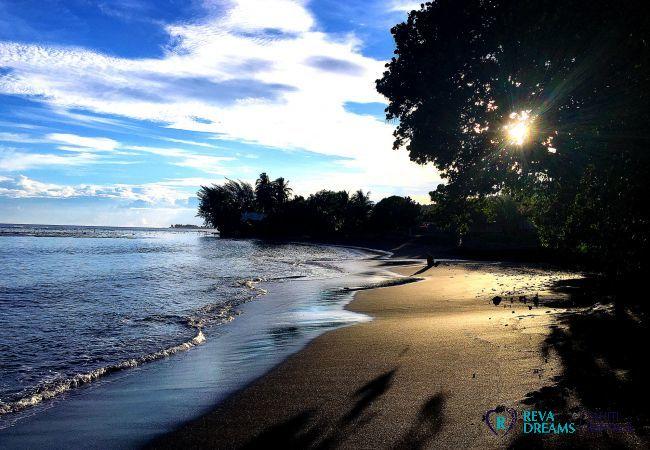 Plage isolée, vacances détentes sur l'île de Tahiti, location saisonnière Fare Ere Ere