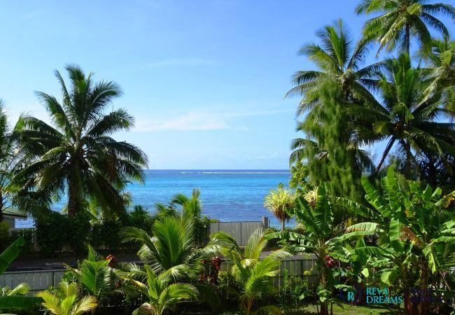 Vue du Fare Iris, des palmiers, végétation luxuriant et lagon bleu sur la belle île de Moorea, Polynésie Française