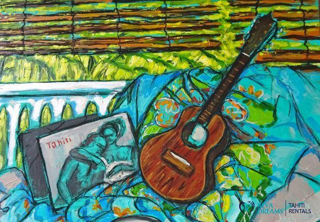 Peinture de la musique et la culture polynésienne au Fare Iris, une location de vacances authentique sur l'île de Moorea