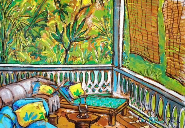 Peinture du salon extérieur, Fare Iris, location de vacances spacieuse sur l'île de Moorea, Polynésie Française